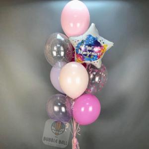 Набор шаров на День Рождение, розовые шары с гелием